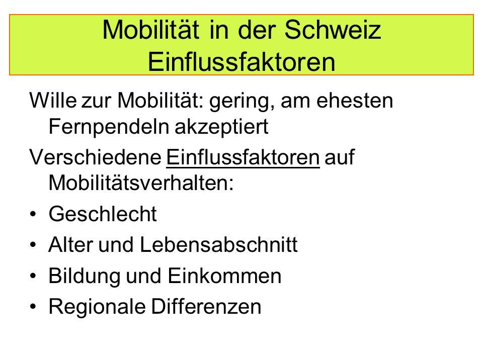 Mobilität in der Schweiz Einflussfaktoren Wille zur Mobilität: gering, am ehesten Fernpendeln akzeptiert Verschiedene Einflussfaktoren auf Mobilitätsverhalten: Geschlecht Alter und Lebensabschnitt Bildung und Einkommen Regionale Differenzen