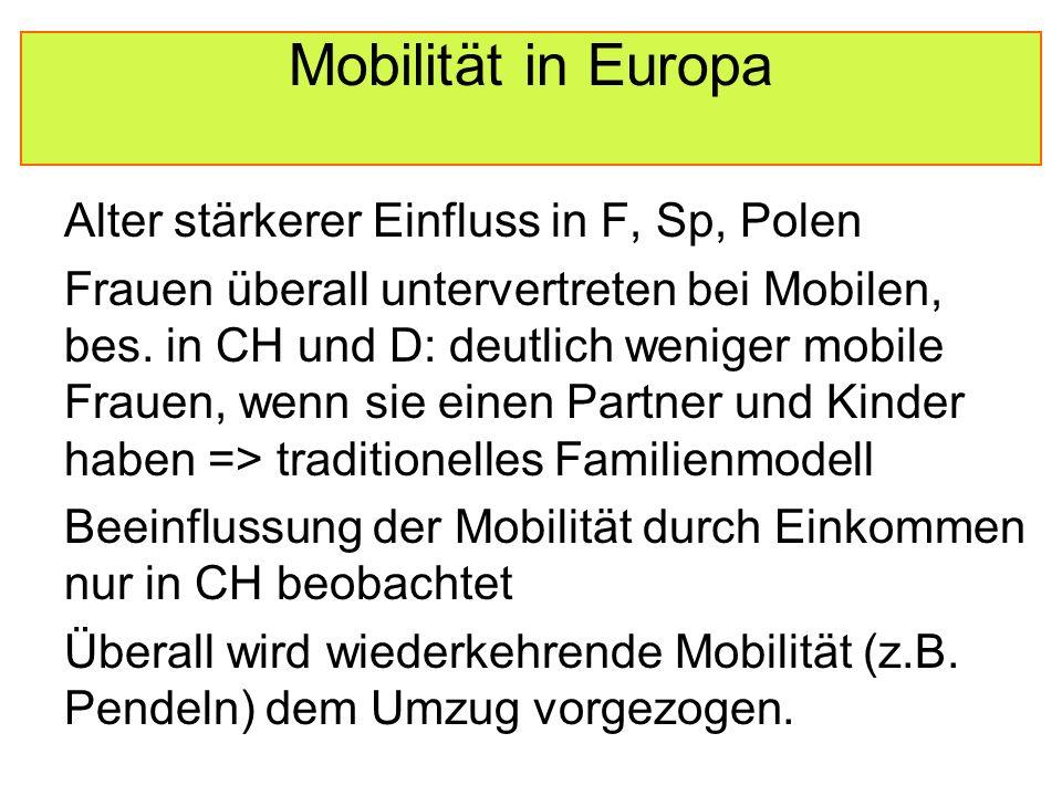 Mobilität in Europa Alter stärkerer Einfluss in F, Sp, Polen Frauen überall untervertreten bei Mobilen, bes.
