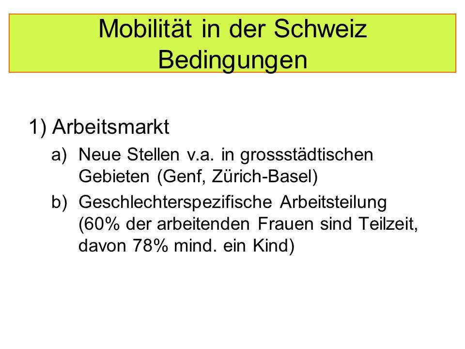 Mobilität in der Schweiz Bedingungen 2) Gebundenheit an den eigenen Kanton durch föderalistisches Bildungssystem und starke regionale Kultur 3) Sehr gute Infrastruktur