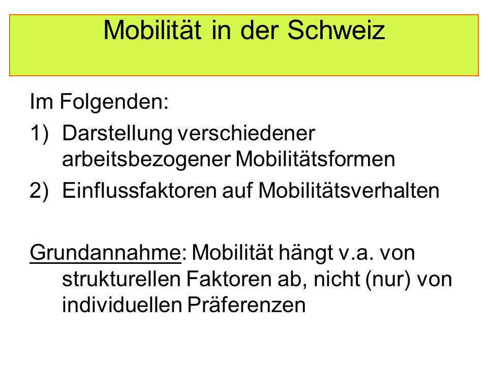 Mobilität in der Schweiz Regionale Differenzen Zugang zu Infrastruktur: in der gesamten Schweiz praktisch maximal  Unterschiede der Mobilität aufgrund des Wohnorts sind vernachlässigbar Überraschend: Rejectors und Overnighters haben besonders guten Zugang  Rejectors v.a.