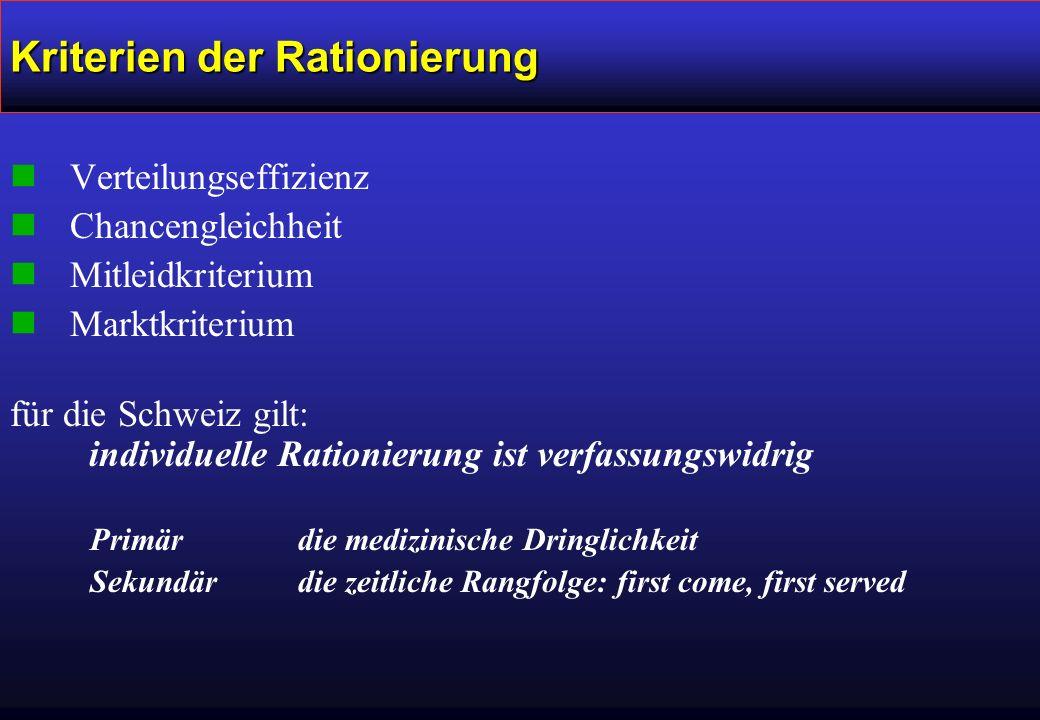 Kriterien der Rationierung nVerteilungseffizienz nChancengleichheit nMitleidkriterium nMarktkriterium für die Schweiz gilt: individuelle Rationierung ist verfassungswidrig Primär die medizinische Dringlichkeit Sekundär die zeitliche Rangfolge: first come, first served