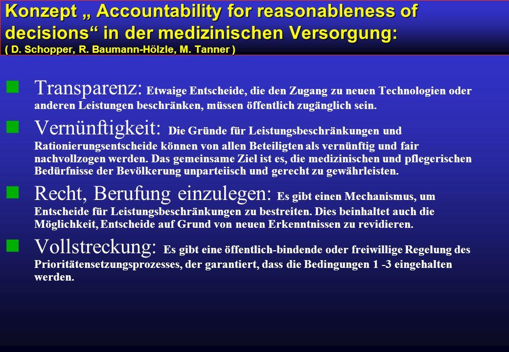 "Konzept "" Accountability for reasonableness of decisions in der medizinischen Versorgung: ( D."