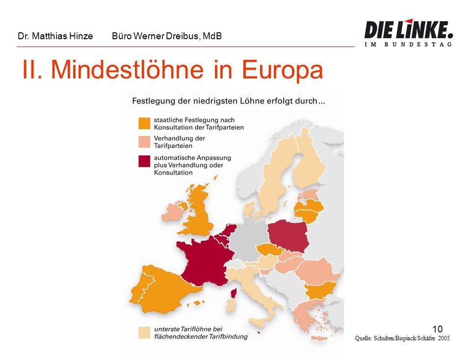 10 Quelle: Schulten/Bispinck/Schäfer 2005 II. Mindestlöhne in Europa Dr.