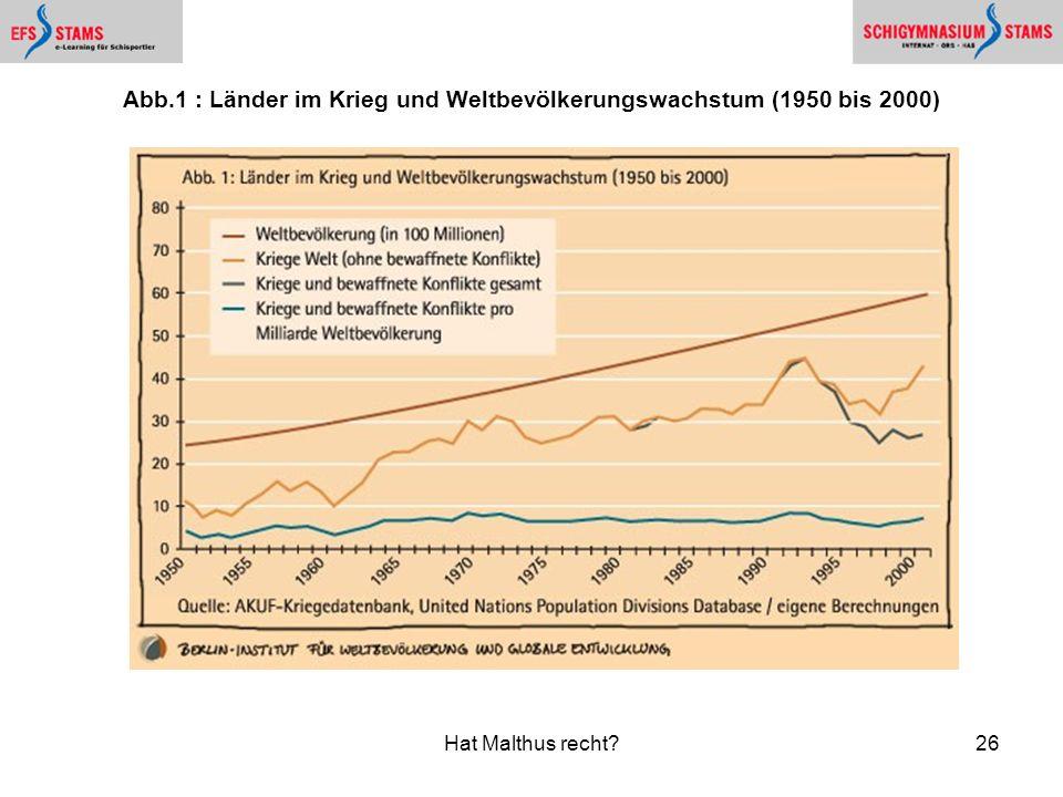 Hat Malthus recht?26 Abb.1 : Länder im Krieg und Weltbevölkerungswachstum (1950 bis 2000)