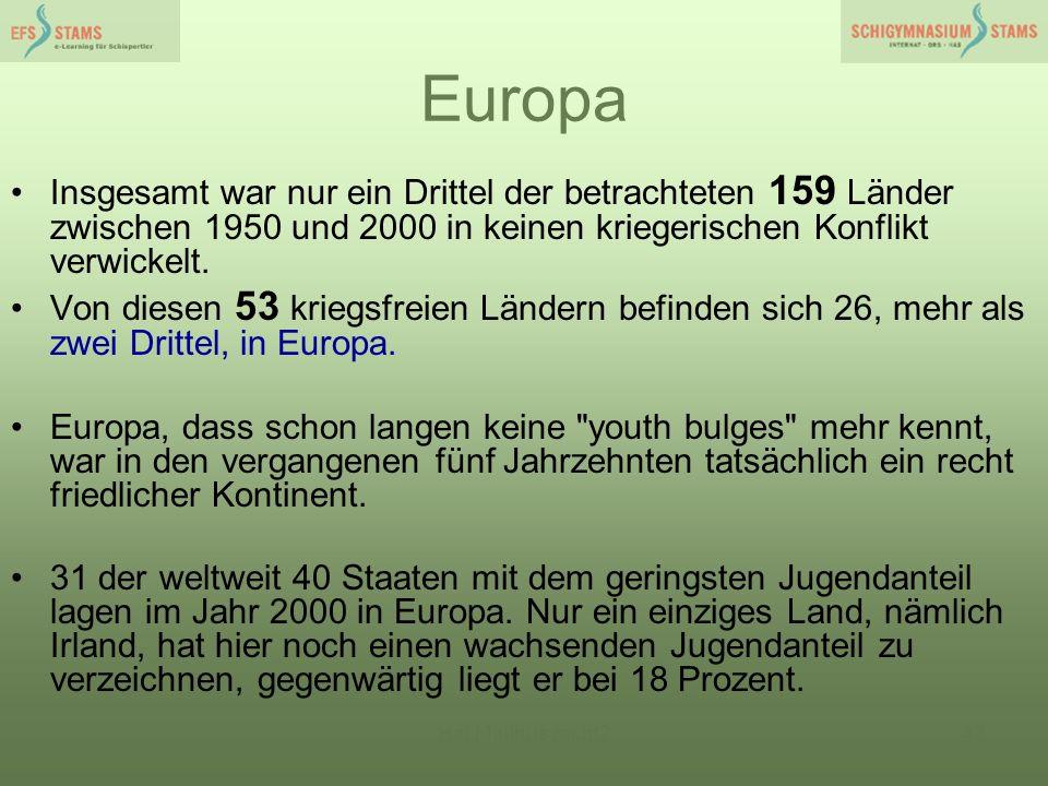 Hat Malthus recht?43 Europa Insgesamt war nur ein Drittel der betrachteten 159 Länder zwischen 1950 und 2000 in keinen kriegerischen Konflikt verwicke