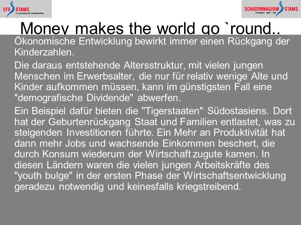Hat Malthus recht?50 Money makes the world go `round.. Ökonomische Entwicklung bewirkt immer einen Rückgang der Kinderzahlen. Die daraus entstehende A