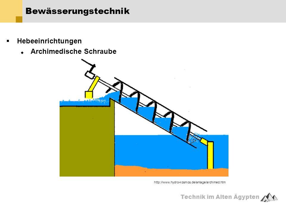 Technik im Alten Ägypten  Hebeeinrichtungen  Archimedische Schraube Bewässerungstechnik http://www.hydro-kosmos.de/anlage/archimed.htm