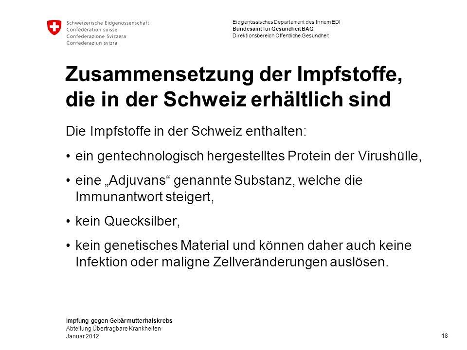 """Impfung gegen Gebärmutterhalskrebs Abteilung Übertragbare Krankheiten Januar 2012 Eidgenössisches Departement des Innern EDI Bundesamt für Gesundheit BAG Direktionsbereich Öffentliche Gesundheit Zusammensetzung der Impfstoffe, die in der Schweiz erhältlich sind Die Impfstoffe in der Schweiz enthalten: ein gentechnologisch hergestelltes Protein der Virushülle, eine """"Adjuvans genannte Substanz, welche die Immunantwort steigert, kein Quecksilber, kein genetisches Material und können daher auch keine Infektion oder maligne Zellveränderungen auslösen."""