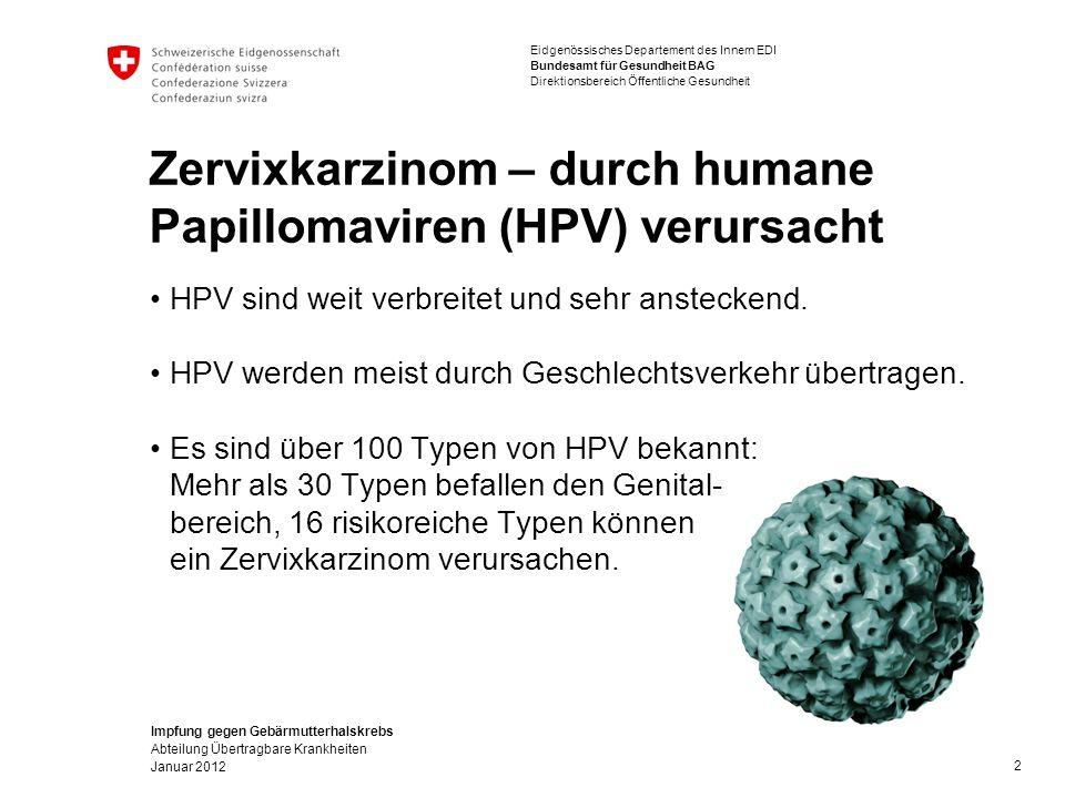 Impfung gegen Gebärmutterhalskrebs Abteilung Übertragbare Krankheiten Januar 2012 Eidgenössisches Departement des Innern EDI Bundesamt für Gesundheit BAG Direktionsbereich Öffentliche Gesundheit Zervixkarzinom – durch humane Papillomaviren (HPV) verursacht HPV sind weit verbreitet und sehr ansteckend.