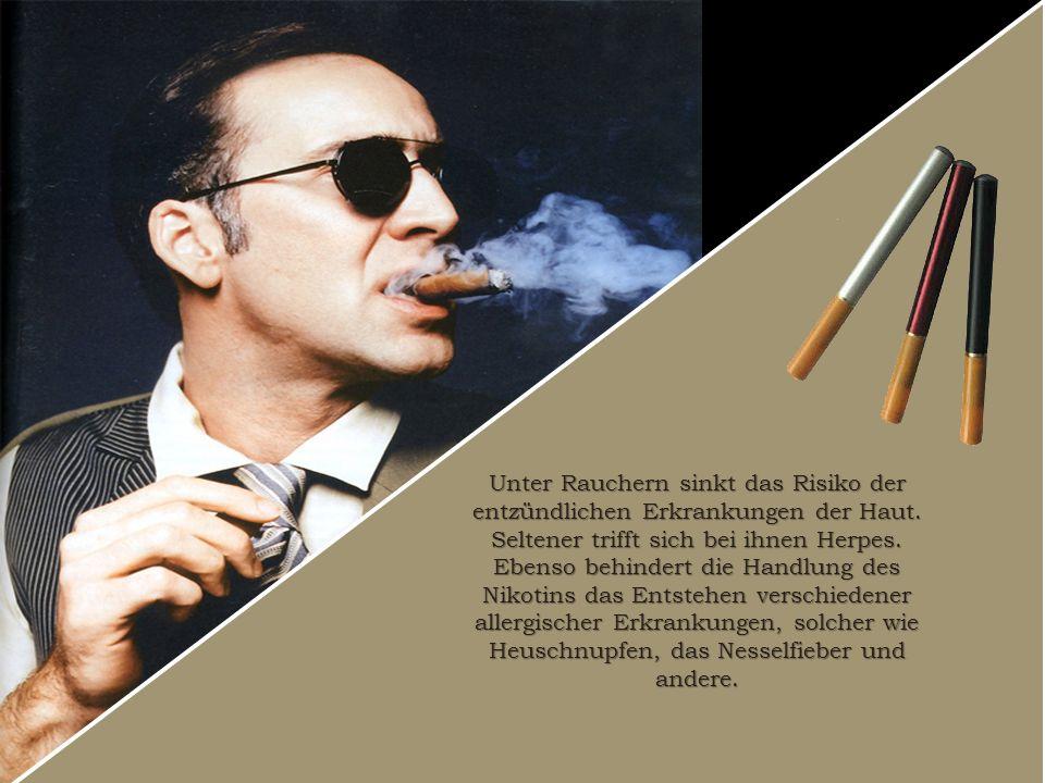 Unter Rauchern sinkt das Risiko der entzündlichen Erkrankungen der Haut.