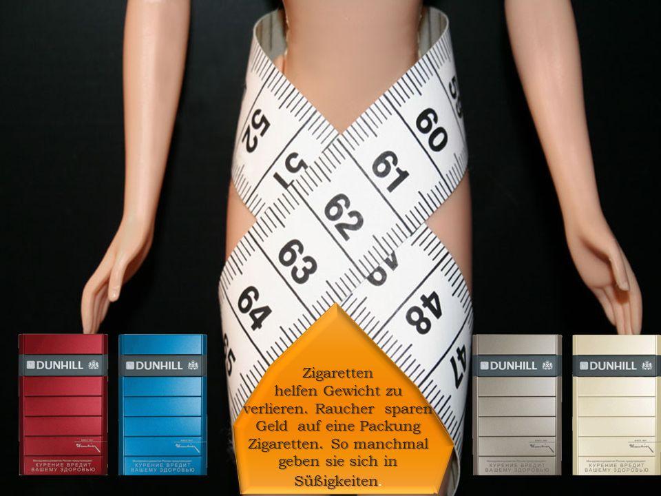 Zigaretten helfen Gewicht zu verlieren. Raucher sparen Geld auf eine Packung Zigaretten.