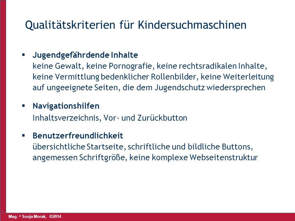 Mag. a Sonja Morak, ©2014 Qualitätskriterien für Kindersuchmaschinen  Jugendgefährdende Inhalte keine Gewalt, keine Pornografie, keine rechtsradikale