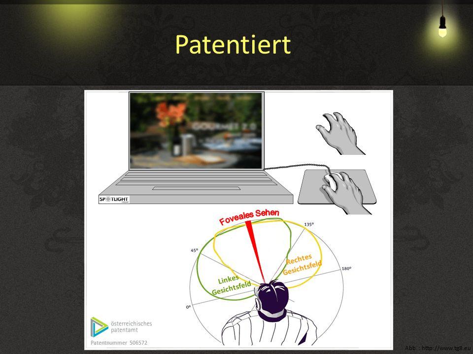 Linkes Gesichtsfeld Rechtes Gesichtsfeld Patentnummer 506572 Abb. : http://www.tg8.eu Patentiert