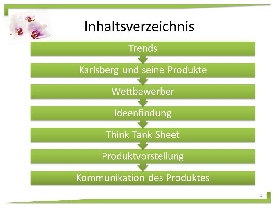Inhaltsverzeichnis 3 Kommunikation des Produktes Produktvorstellung Think Tank Sheet Ideenfindung Wettbewerber Karlsberg und seine Produkte Trends