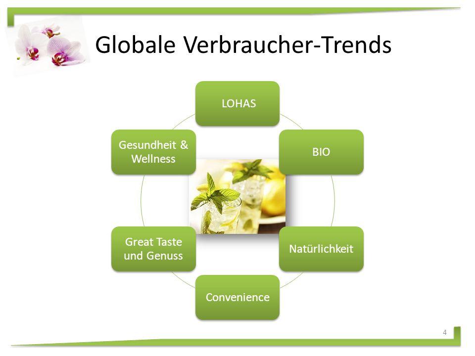 Globale Verbraucher-Trends LOHASBIONatürlichkeitConvenience Great Taste und Genuss Gesundheit & Wellness 4
