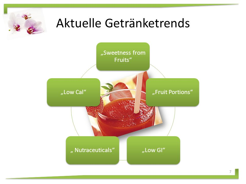 """""""Sweetness from Fruits """"Fruit Portions """"Low GI """" Nutraceuticals """"Low Cal Aktuelle Getränketrends 7"""