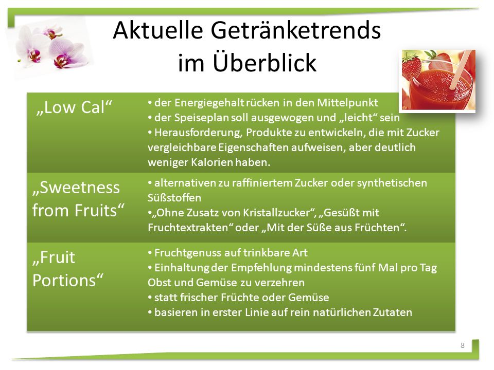 """Sweetness from Fruits ""Fruit Portions ""Low GI "" Nutraceuticals ""Low Cal Aktuelle Getränketrends 7"