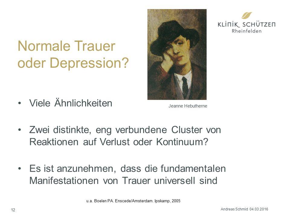 Normale Trauer oder Depression? Viele Ähnlichkeiten Zwei distinkte, eng verbundene Cluster von Reaktionen auf Verlust oder Kontinuum? Es ist anzunehme