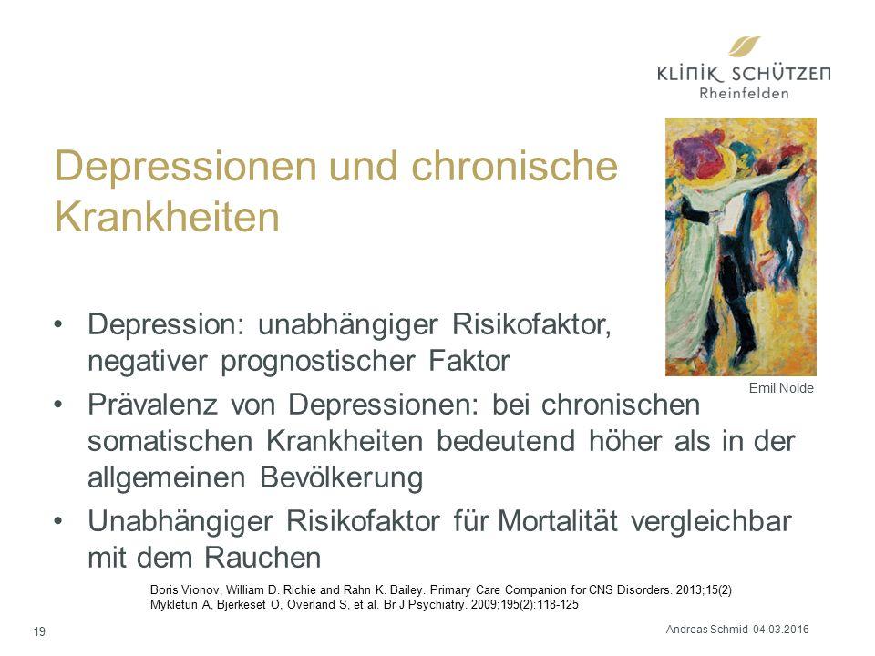 Depressionen und chronische Krankheiten Depression: unabhängiger Risikofaktor, negativer prognostischer Faktor Prävalenz von Depressionen: bei chronis