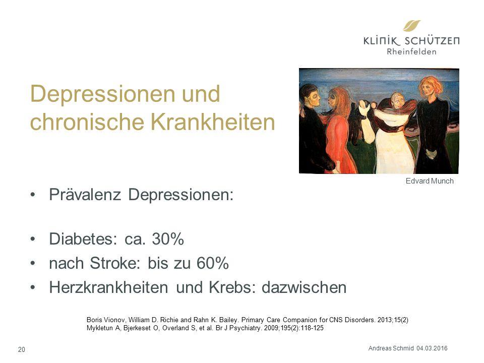 Depressionen und chronische Krankheiten Prävalenz Depressionen: Diabetes: ca. 30% nach Stroke: bis zu 60% Herzkrankheiten und Krebs: dazwischen 20 Edv