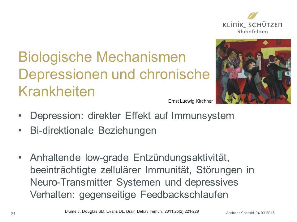Biologische Mechanismen Depressionen und chronische Krankheiten Depression: direkter Effekt auf Immunsystem Bi-direktionale Beziehungen Anhaltende low