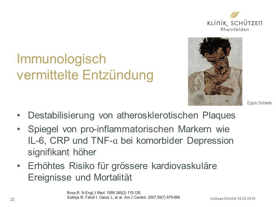 Immunologisch vermittelte Entzündung Destabilisierung von atherosklerotischen Plaques Spiegel von pro-inflammatorischen Markern wie IL-6, CRP und TNF- ɑ bei komorbider Depression signifikant höher Erhöhtes Risiko für grössere kardiovaskuläre Ereignisse und Mortalität Ross R.