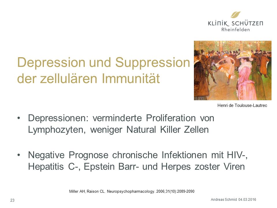 Depression und Suppression der zellulären Immunität Depressionen: verminderte Proliferation von Lymphozyten, weniger Natural Killer Zellen Negative Prognose chronische Infektionen mit HIV-, Hepatitis C-, Epstein Barr- und Herpes zoster Viren Miller AH, Raison CL.