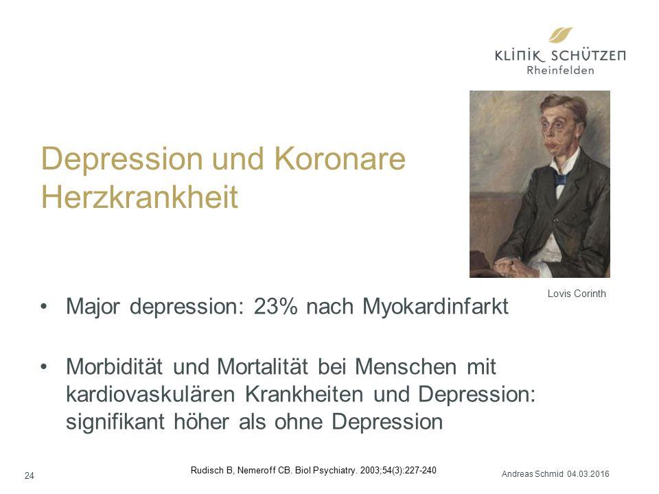 Depression und Koronare Herzkrankheit Major depression: 23% nach Myokardinfarkt Morbidität und Mortalität bei Menschen mit kardiovaskulären Krankheiten und Depression: signifikant höher als ohne Depression Rudisch B, Nemeroff CB.