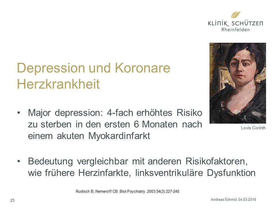 Depression und Koronare Herzkrankheit Major depression: 4-fach erhöhtes Risiko zu sterben in den ersten 6 Monaten nach einem akuten Myokardinfarkt Bed
