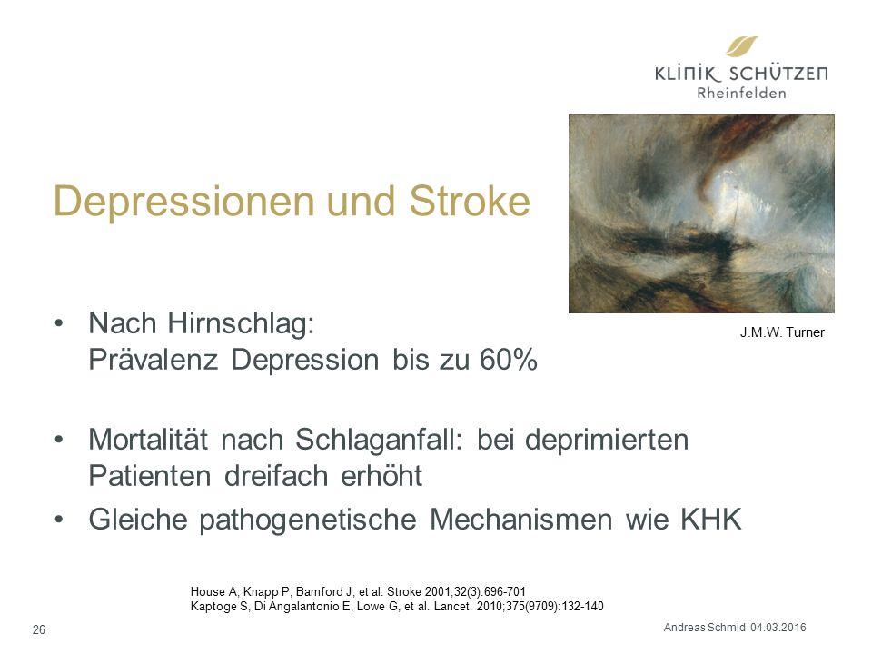 Depressionen und Stroke Nach Hirnschlag: Prävalenz Depression bis zu 60% Mortalität nach Schlaganfall: bei deprimierten Patienten dreifach erhöht Gleiche pathogenetische Mechanismen wie KHK 26 J.M.W.