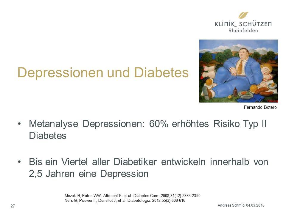 Depressionen und Diabetes Metanalyse Depressionen: 60% erhöhtes Risiko Typ II Diabetes Bis ein Viertel aller Diabetiker entwickeln innerhalb von 2,5 Jahren eine Depression Mezuk B, Eaton WW, Albrecht S, et al.