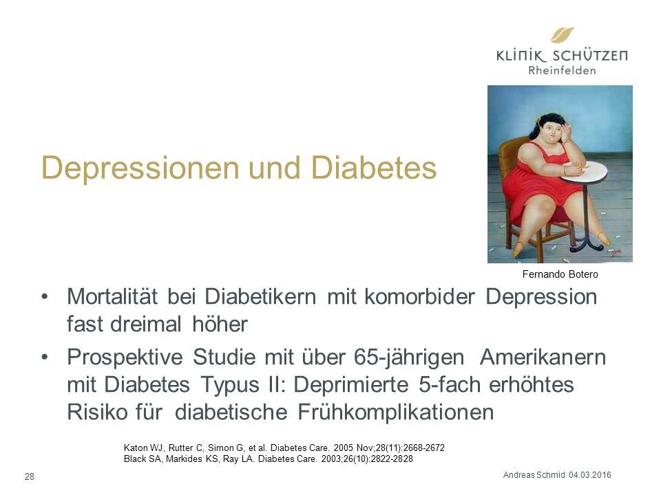 Depressionen und Diabetes Mortalität bei Diabetikern mit komorbider Depression fast dreimal höher Prospektive Studie mit über 65-jährigen Amerikanern mit Diabetes Typus II: Deprimierte 5-fach erhöhtes Risiko für diabetische Frühkomplikationen Katon WJ, Rutter C, Simon G, et al.
