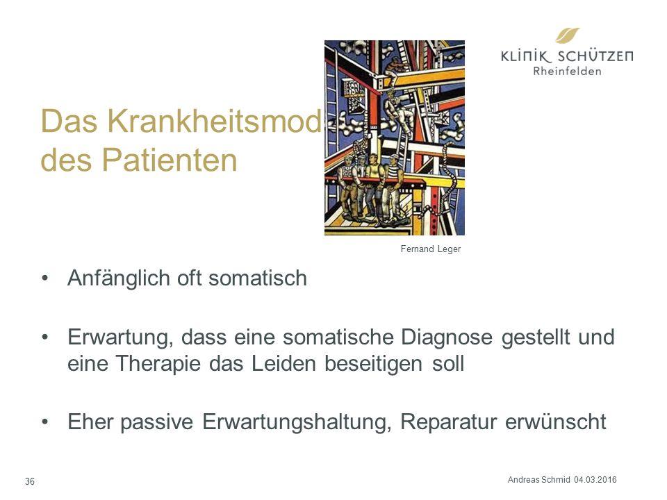 Das Krankheitsmodell des Patienten Anfänglich oft somatisch Erwartung, dass eine somatische Diagnose gestellt und eine Therapie das Leiden beseitigen