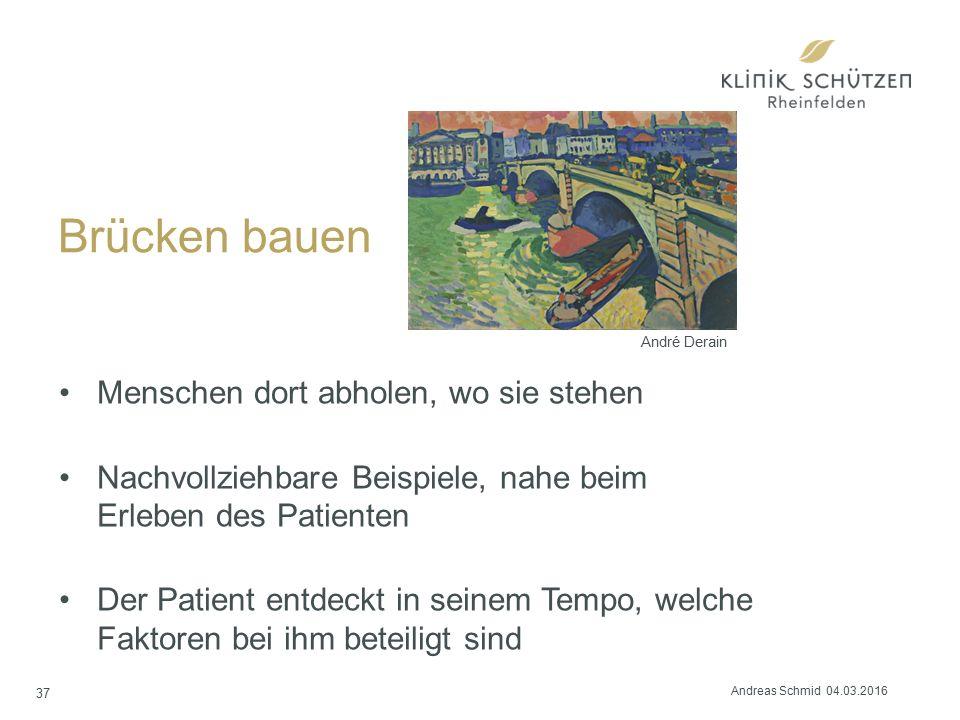 Brücken bauen Menschen dort abholen, wo sie stehen Nachvollziehbare Beispiele, nahe beim Erleben des Patienten Der Patient entdeckt in seinem Tempo, w