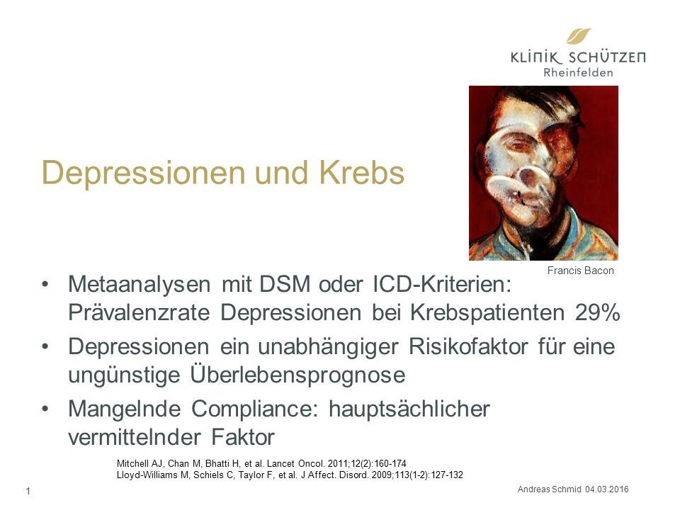 Depressionen und Krebs Metaanalysen mit DSM oder ICD-Kriterien: Prävalenzrate Depressionen bei Krebspatienten 29% Depressionen ein unabhängiger Risikofaktor für eine ungünstige Überlebensprognose Mangelnde Compliance: hauptsächlicher vermittelnder Faktor Mitchell AJ, Chan M, Bhatti H, et al.