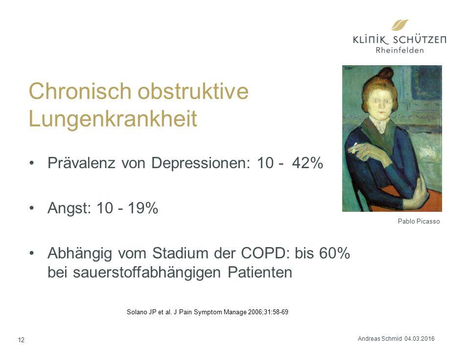 Chronisch obstruktive Lungenkrankheit Prävalenz von Depressionen: 10 - 42% Angst: 10 - 19% Abhängig vom Stadium der COPD: bis 60% bei sauerstoffabhängigen Patienten 12 Solano JP et al.