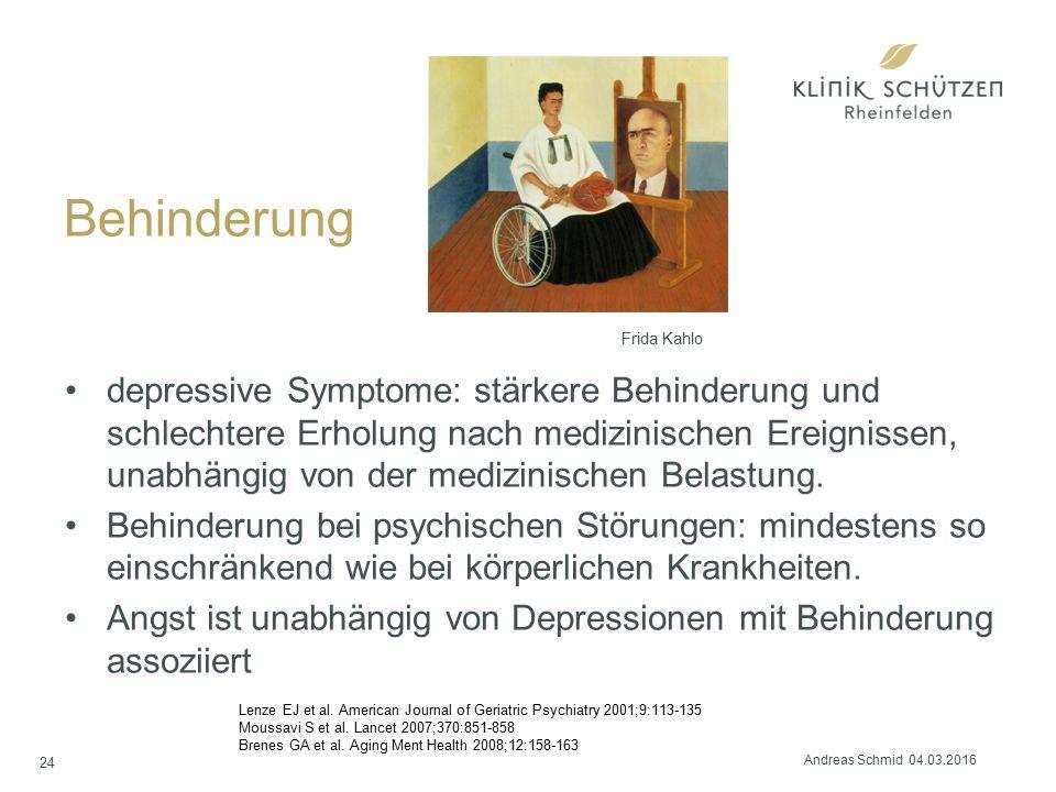 Behinderung depressive Symptome: stärkere Behinderung und schlechtere Erholung nach medizinischen Ereignissen, unabhängig von der medizinischen Belastung.