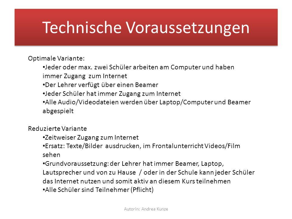 Technische Voraussetzungen Autorin: Andrea Kunze Optimale Variante: Jeder oder max.