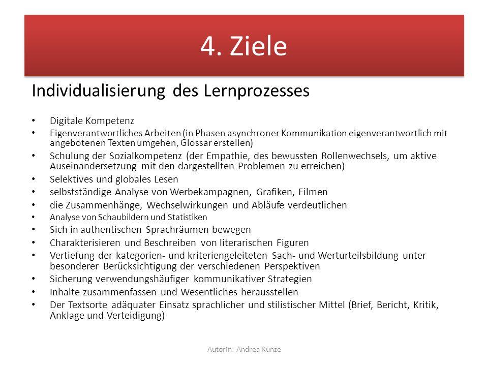4. Ziele Individualisierung des Lernprozesses Digitale Kompetenz Eigenverantwortliches Arbeiten (in Phasen asynchroner Kommunikation eigenverantwortli
