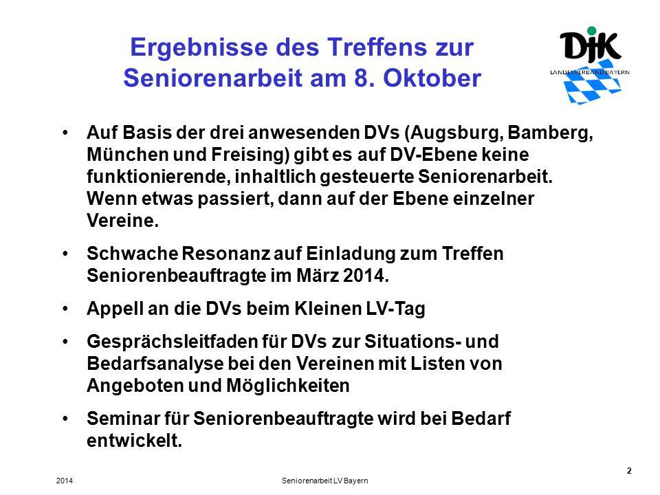 13 Chancen und Fähigkeiten von Senioren als Unterstützung für die Vereinsarbeit Seniorenarbeit LV Bayern2014 Mitglieder beitragszahlende Mitglieder behalten, neu zu gewinnen und Mitgliederschwund vorzubeugen.