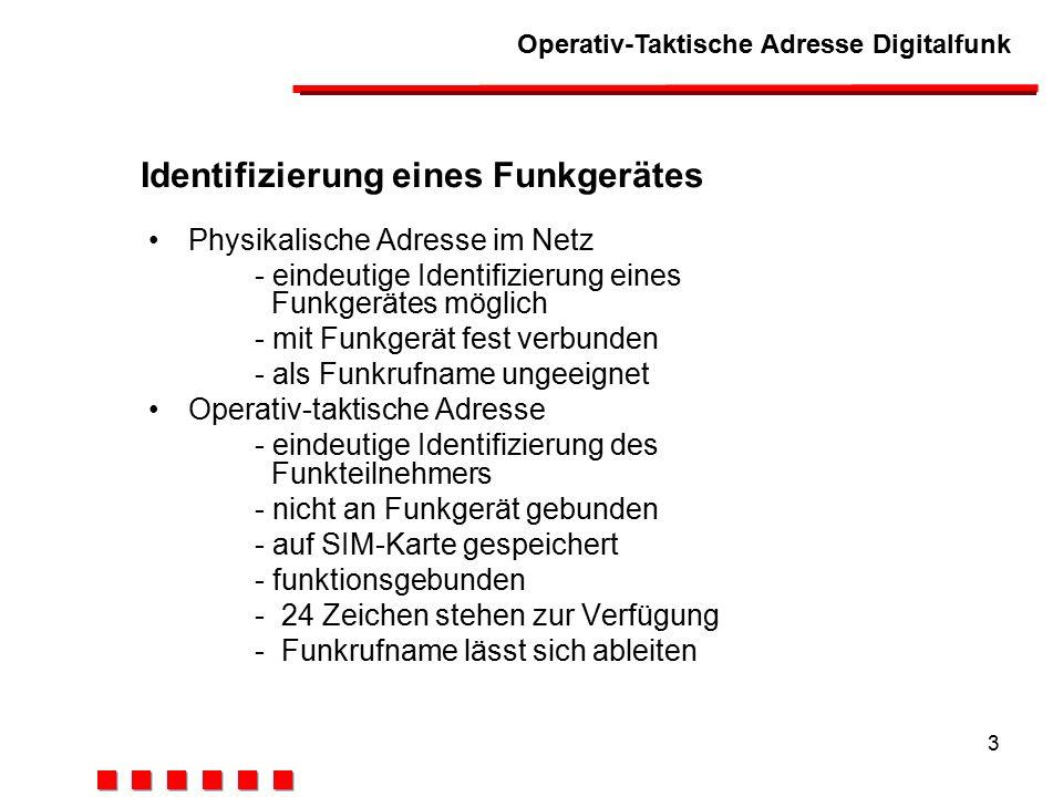 Operativ-Taktische Adresse Digitalfunk 3 Identifizierung eines Funkgerätes Physikalische Adresse im Netz - eindeutige Identifizierung eines Funkgerätes möglich - mit Funkgerät fest verbunden - als Funkrufname ungeeignet Operativ-taktische Adresse - eindeutige Identifizierung des Funkteilnehmers - nicht an Funkgerät gebunden - auf SIM-Karte gespeichert - funktionsgebunden -24 Zeichen stehen zur Verfügung -Funkrufname lässt sich ableiten