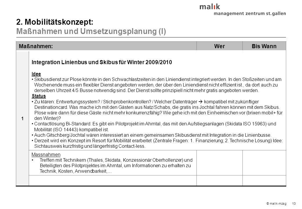 13© malik-mzsg Maßnahmen:WerBis Wann 1 Integration Linienbus und Skibus für Winter 2009/2010 Idee Skibusdienst zur Plose könnte in den Schwachlastzeiten in den Liniendienst integriert werden.