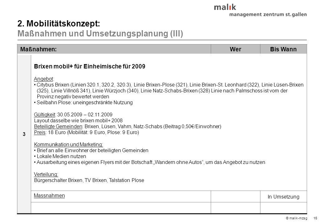 15© malik-mzsg Maßnahmen:WerBis Wann 3 Brixen mobil+ für Einheimische für 2009 Angebot: Citybus Brixen (Linien 320.1, 320.2, 320.3), Linie Brixen-Plose (321), Linie Brixen-St.