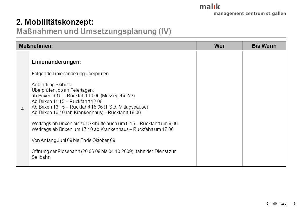 16© malik-mzsg Maßnahmen:WerBis Wann 4 Linienänderungen: Folgende Linienänderung überprüfen Anbindung Skihütte Überprüfen, ob an Feiertagen: ab Brixen 9.15 – Rückfahrt 10.06 (Messegeher??) Ab Brixen 11.15 – Rückfahrt 12.06 Ab Brixen 13.15 – Rückfahrt 15.06 (1 Std.