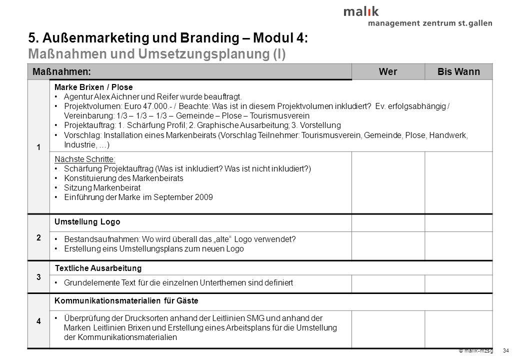 34© malik-mzsg Maßnahmen:WerBis Wann 1 Marke Brixen / Plose Agentur Alex Aichner und Reifer wurde beauftragt.