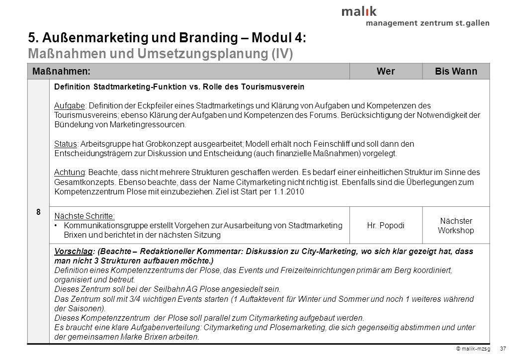 37© malik-mzsg Maßnahmen:WerBis Wann 8 Definition Stadtmarketing-Funktion vs.