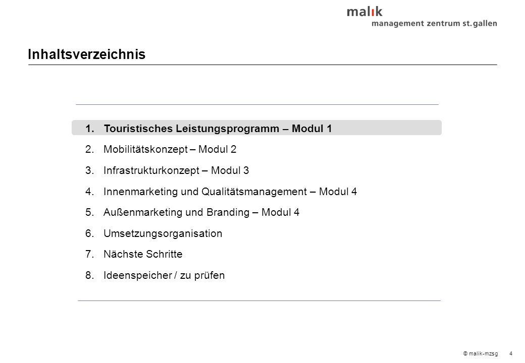4© malik-mzsg Inhaltsverzeichnis 1.Touristisches Leistungsprogramm – Modul 1 2.Mobilitätskonzept – Modul2 3.Infrastrukturkonzept – Modul 3 4.Innenmarketing und Qualitätsmanagement – Modul 4 5.Außenmarketing und Branding – Modul 4 6.Umsetzungsorganisation 7.Nächste Schritte 8.Ideenspeicher / zu prüfen