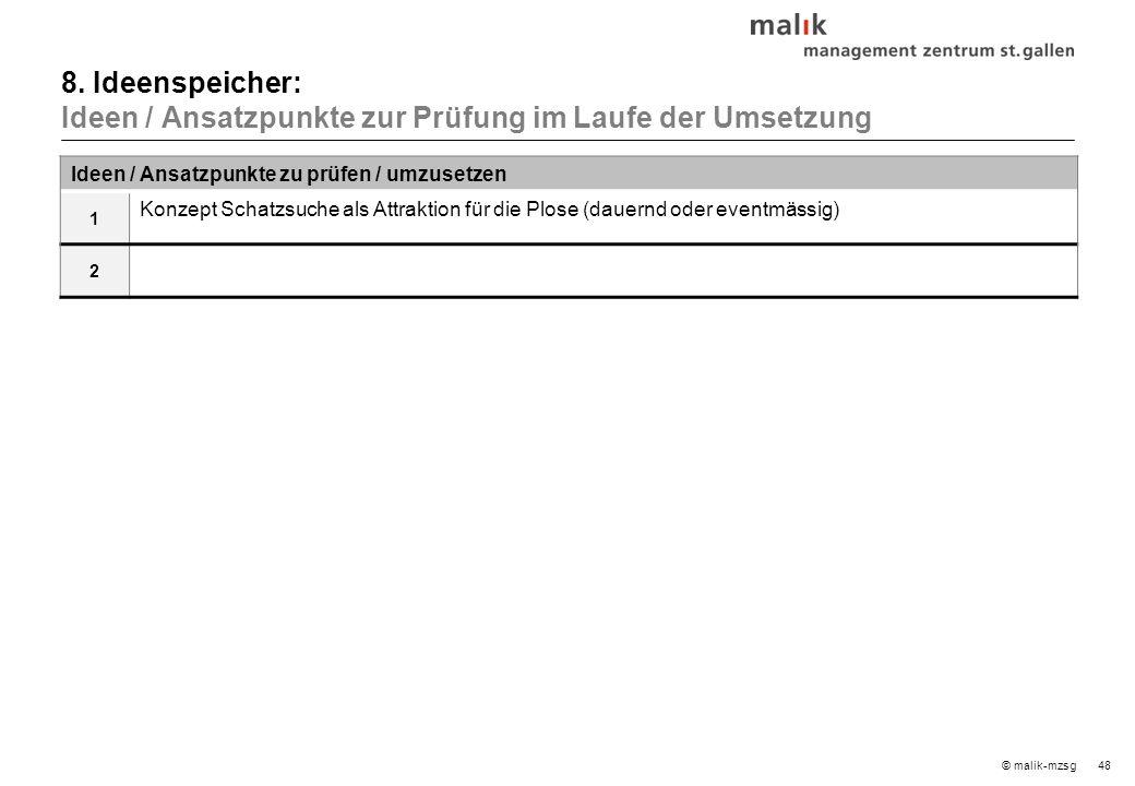 48© malik-mzsg Ideen / Ansatzpunkte zu prüfen / umzusetzen 1 Konzept Schatzsuche als Attraktion für die Plose (dauernd oder eventmässig) 2 8.