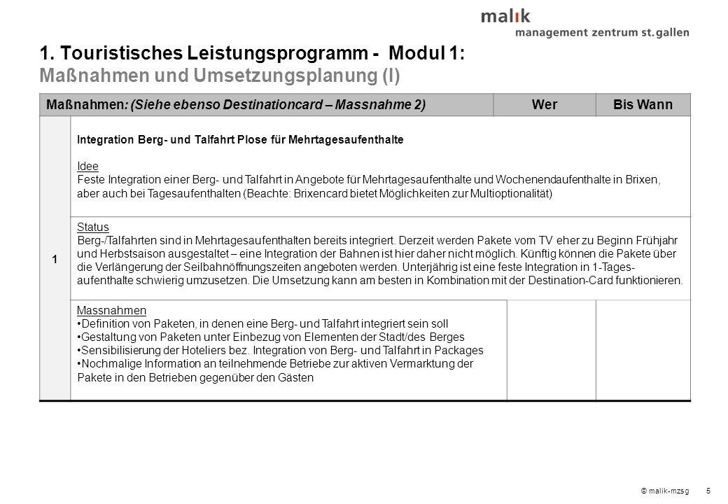© malik-mzsg5 Maßnahmen: (Siehe ebenso Destinationcard – Massnahme 2)WerBis Wann 1 Integration Berg- und Talfahrt Plose für Mehrtagesaufenthalte Idee Feste Integration einer Berg- und Talfahrt in Angebote für Mehrtagesaufenthalte und Wochenendaufenthalte in Brixen, aber auch bei Tagesaufenthalten (Beachte: Brixencard bietet Möglichkeiten zur Multioptionalität) Status Berg-/Talfahrten sind in Mehrtagesaufenthalten bereits integriert.