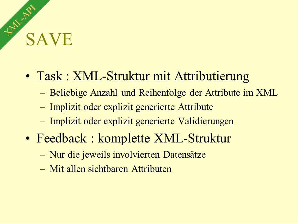 SAVE Task : XML-Struktur mit Attributierung –Beliebige Anzahl und Reihenfolge der Attribute im XML –Implizit oder explizit generierte Attribute –Implizit oder explizit generierte Validierungen Feedback : komplette XML-Struktur –Nur die jeweils involvierten Datensätze –Mit allen sichtbaren Attributen XML-API